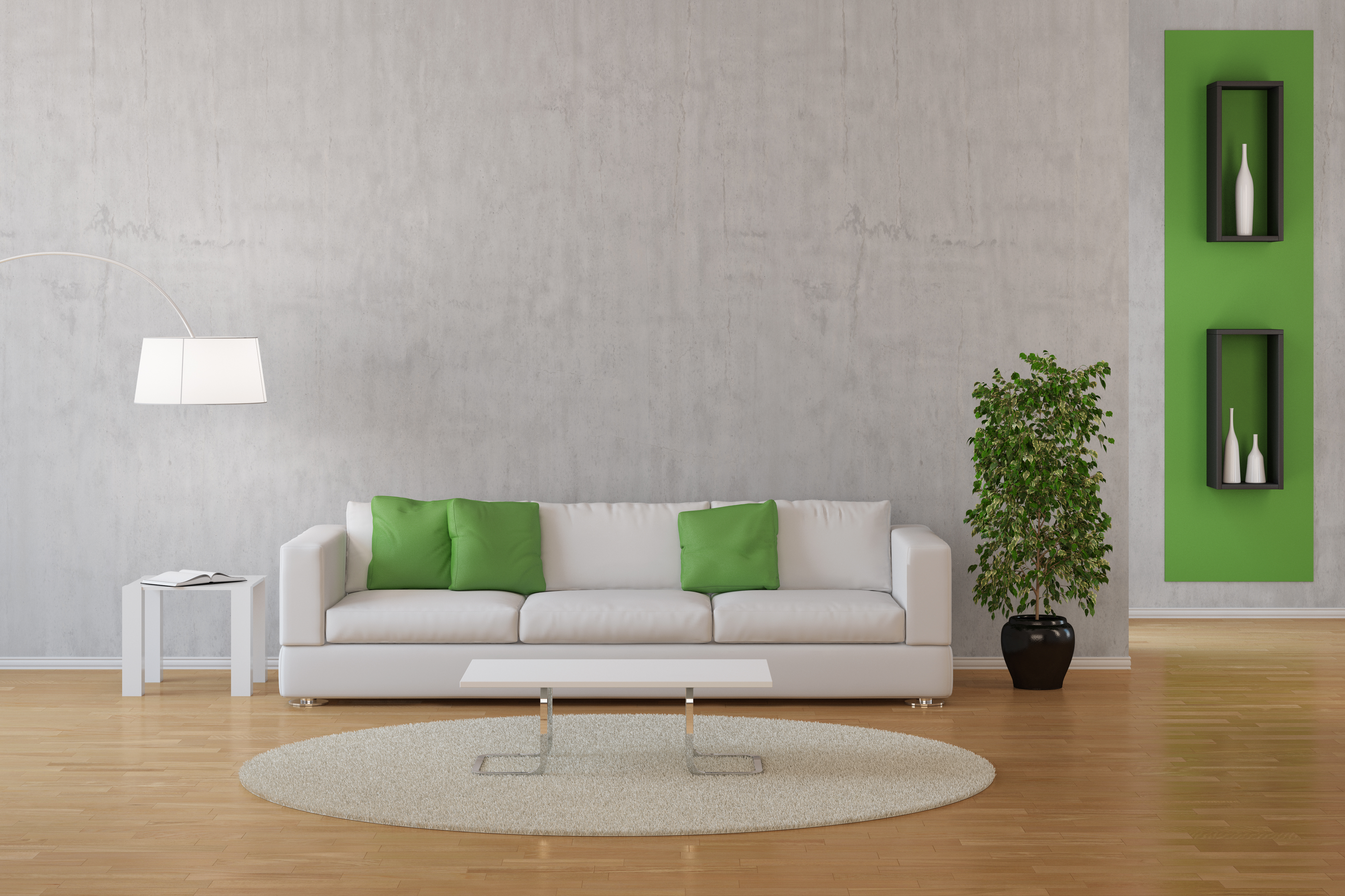 neat white living room with green accent colours